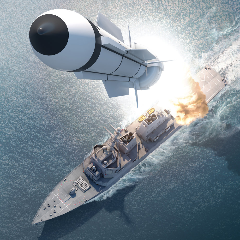 Project: SM-3 Missile Launch, 3D rendering / model asset Contribution: Concept, art direction, lighting, texturing, rendering, matte painting (ship model by others)