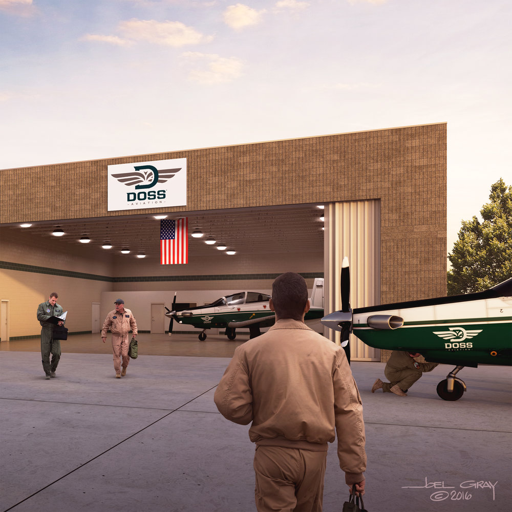 Project: DOSS Aviation - Proposed Flight School (partial hangar view) Contribution: Art direction, 3D modeling, lighting, texturing, rendering