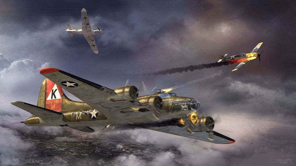 """Project: B-17 Bomber """"Judy"""" (personal artwork) Contribution: Concept, art direction, lighting, texturing, rendering, matte painting"""
