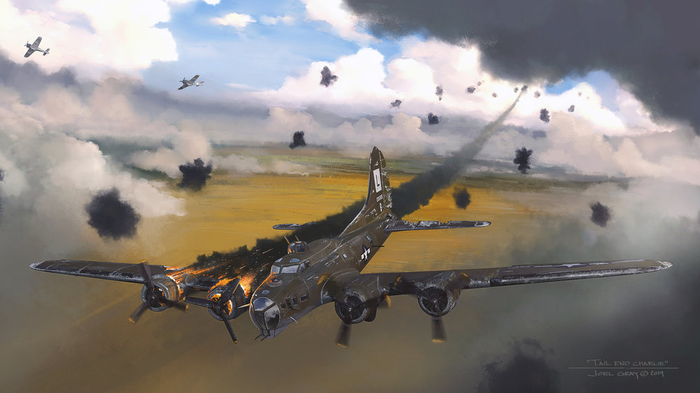 """Project: """"Tail End Charlie,"""" B-17G, 42-31325. For more about the history of this plane go  here . Contribution: Concept, art direction, digital paintover"""