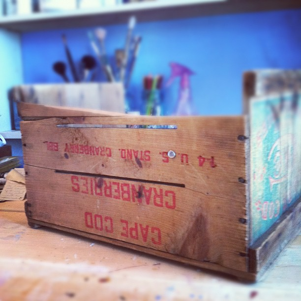 A vintage fruit crate... before I ripped it apart.