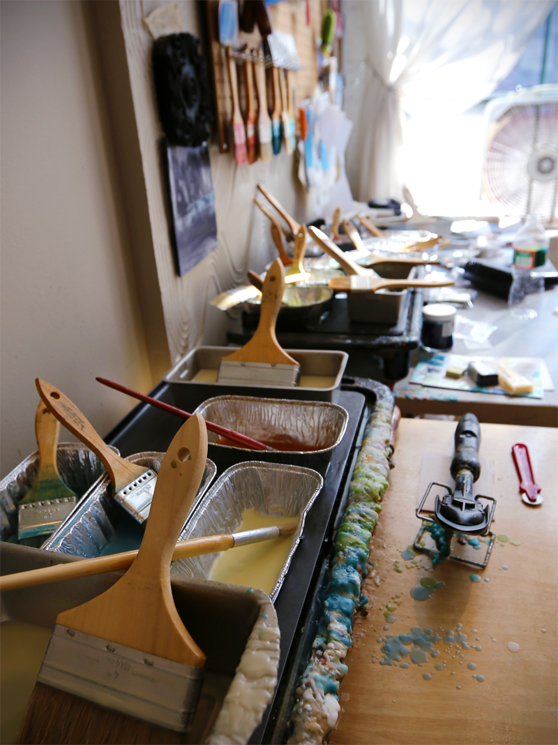 Linda Corner's encaustic supplies and workspace
