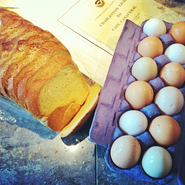 Sunday Farmers market haul... delicious organic pumpkin bread and organic, cage free local eggs. I also scored a few more nautical maps at the vintage market next door. I will be sad when the farmers market closes in November.