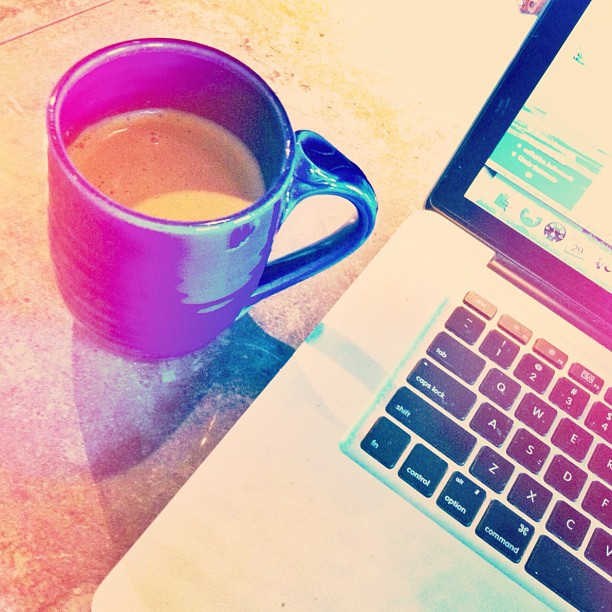 I drink coffee all. day. long. On this day I had a lot of emailing and accounting and computer stuff to do so I upgraded to a pumpkin spice latte.