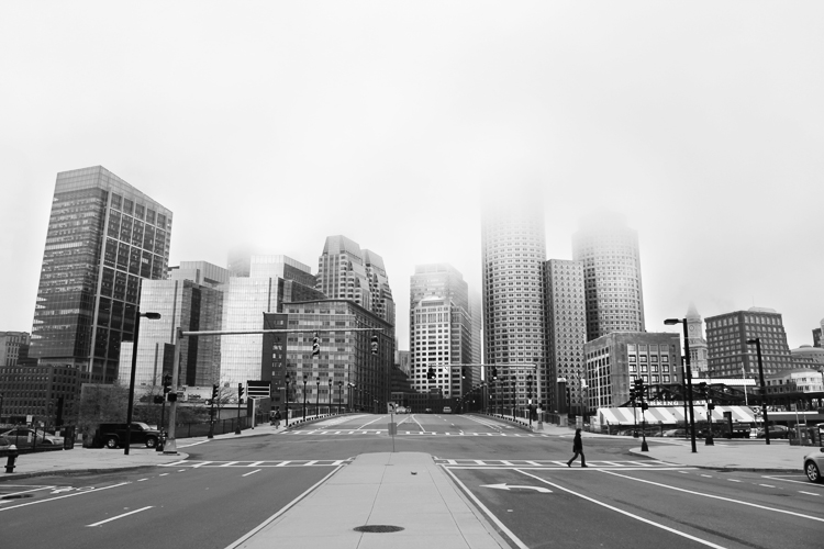 Boston's Financial District as seen from across the Fort Point Channel in the Seaport.