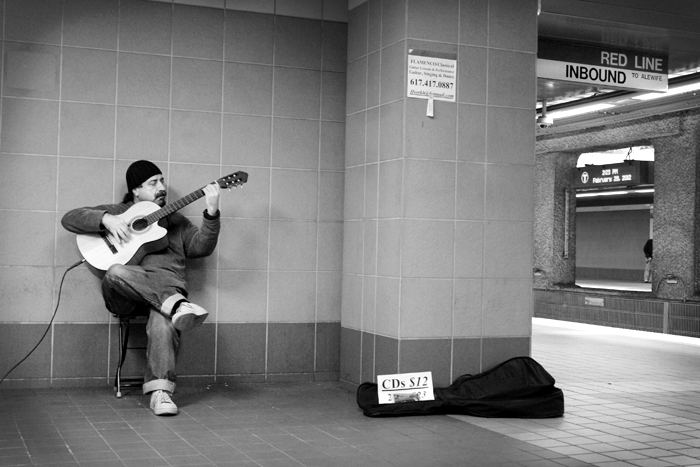 A subway musician at Broadway Train Station, where I take the Red Line from Southie to visit Mike at work in Cambridge.