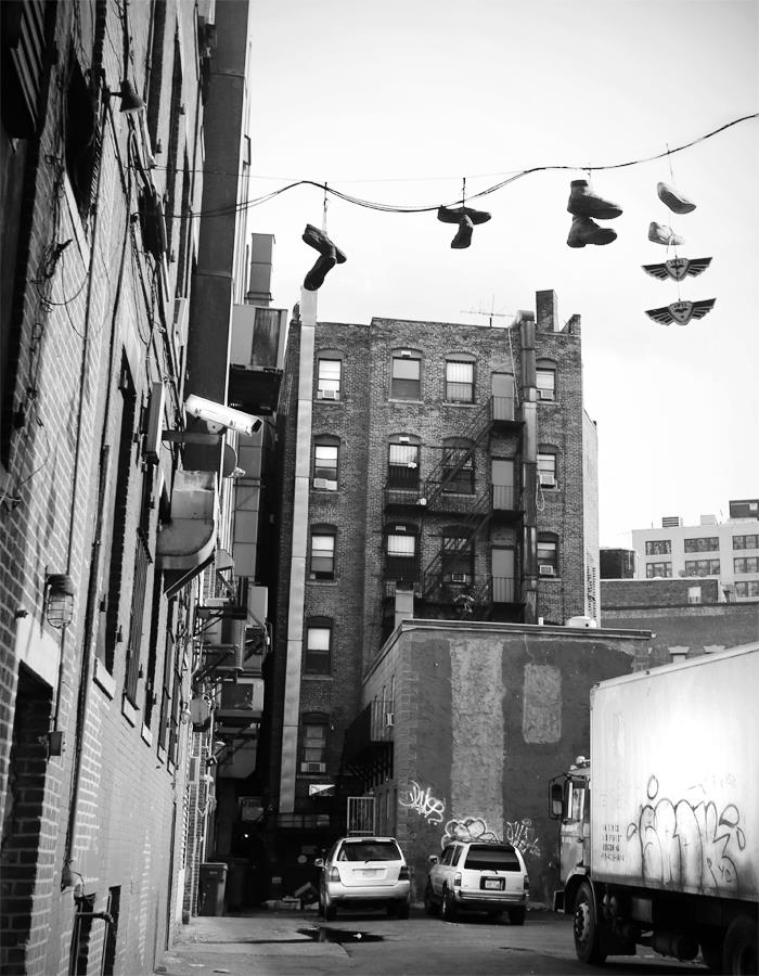 The end of a back alleyway in Chinatown.
