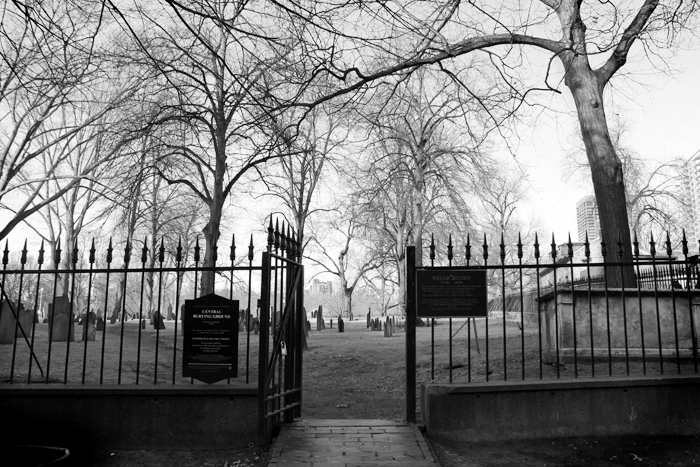 The 1756 Central Burial Ground in downtown Boston Common.