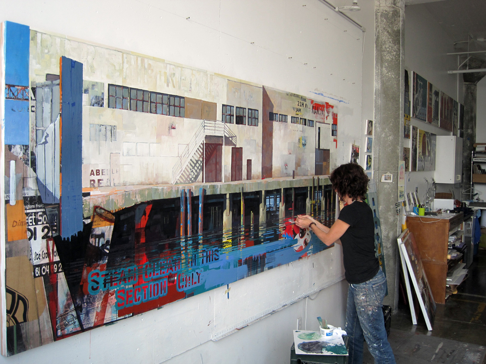 "Catherine Mackey at work on ""Pier 36"" in her San Francisco studio"