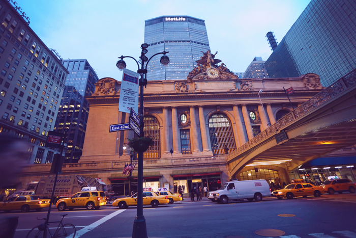 Grand Central Terminal in midtown as the sun set. The outside was beautiful and the inside was huge!