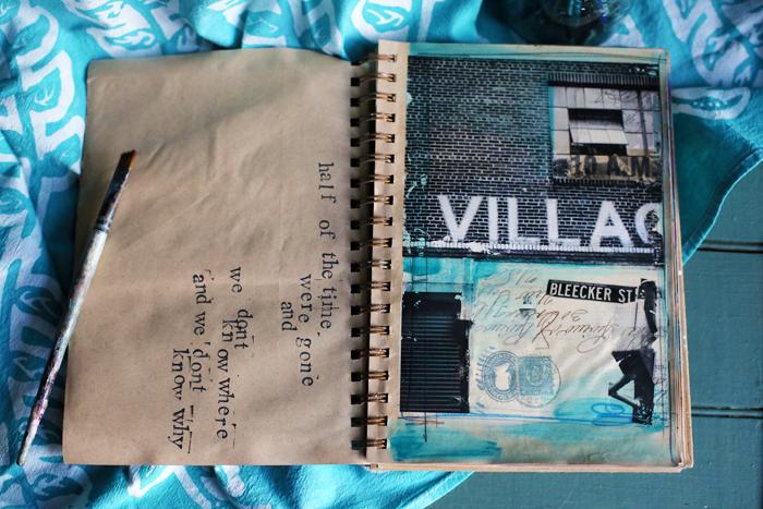 Village Garage No. 1,6x8 mixed media on paper