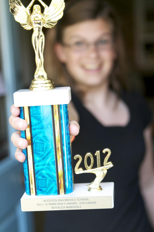 rosalea rocking her principal's award in 2012