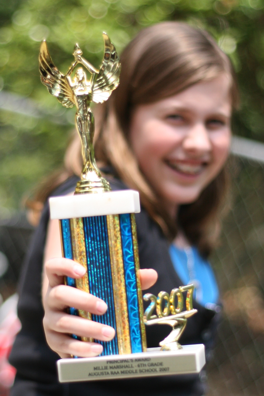 millie rocking her principal's award in 2007