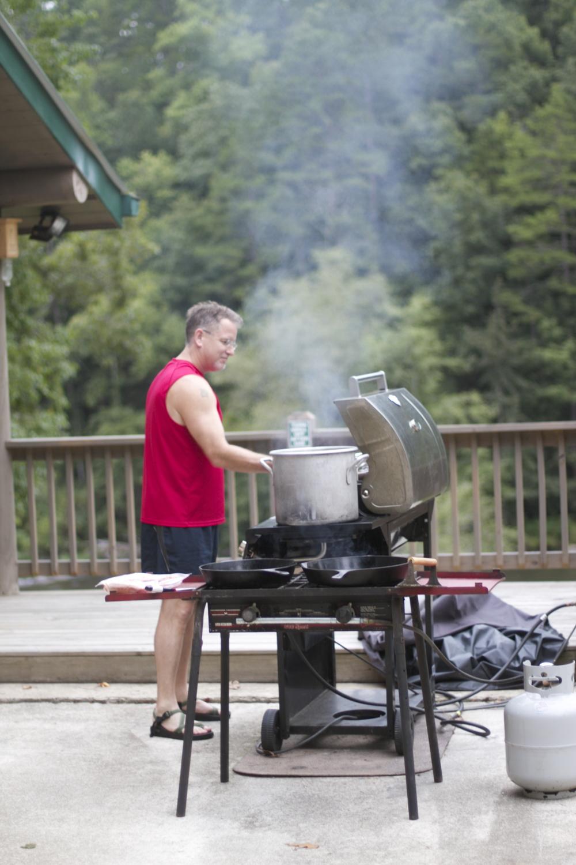 kevin cooking breakfast.