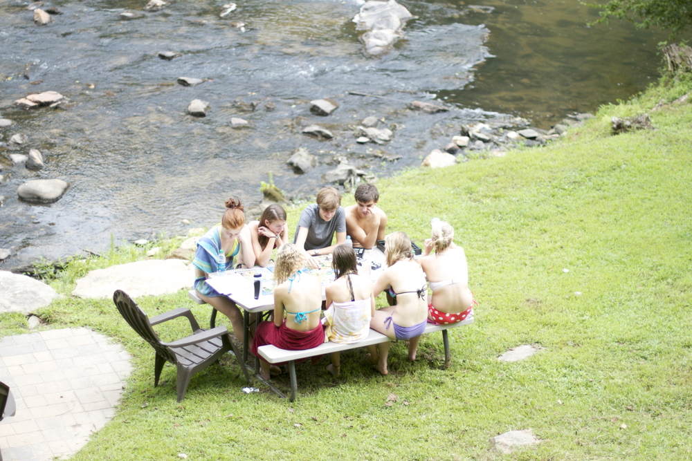 games by the stream.