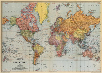 Cavallini World Map   gift wrap or frame — Pickle Papers