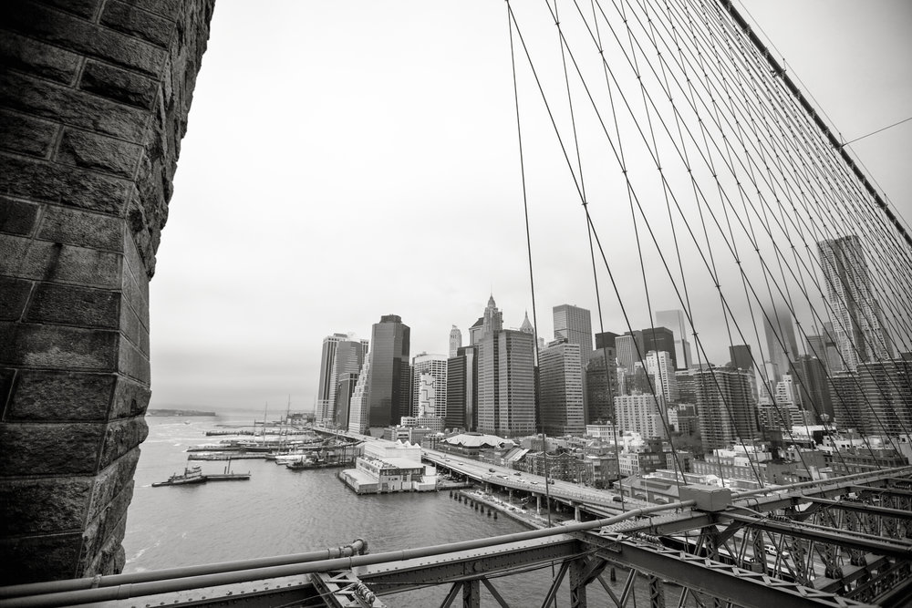 Brooklyn Bridge Study - L. A. Lewin 2014 BW Conversion via Silver Efex Pro 2 (Click for larger view)