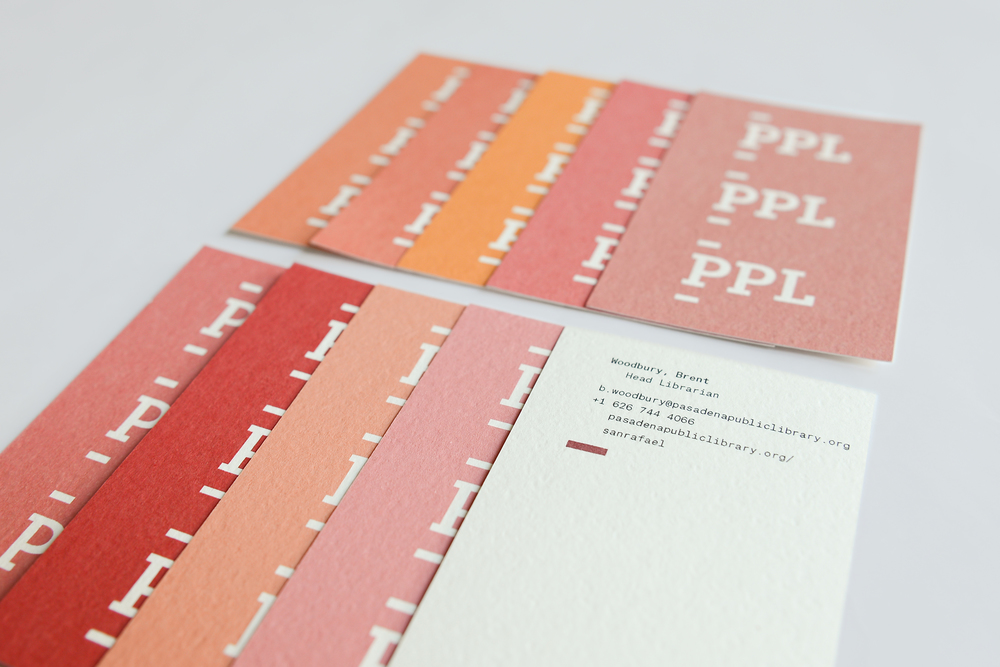 Oversized business cards inspired by pre-barcode check out cards
