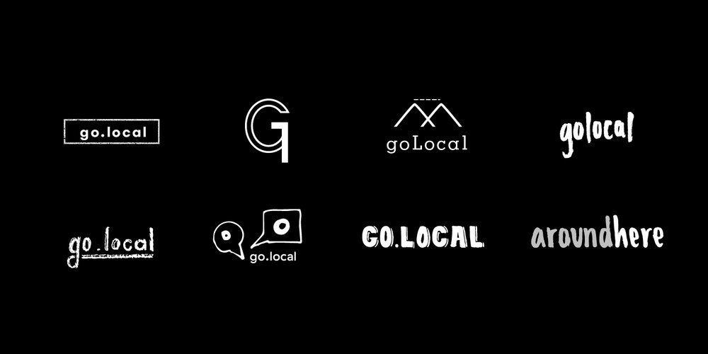 Initial logo iterations. Was previously known as 'Go.Local' before switching name to 'AroundHere'.