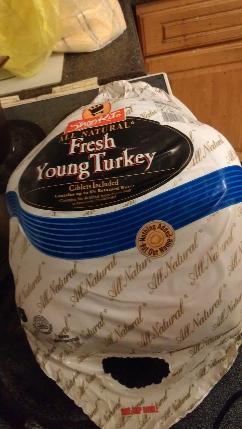 Our Turkey just before it was unwrapped!