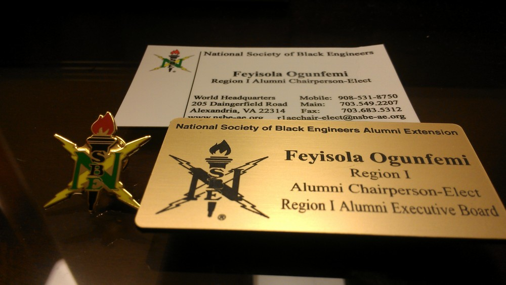 NSBE Swagg for the conference - Official business cards, pin and name badge!