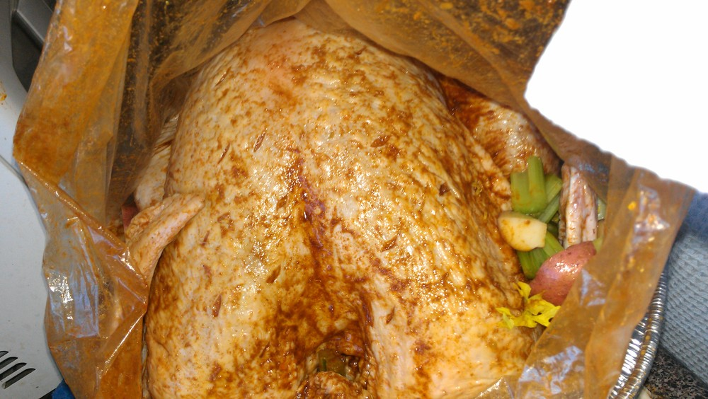 View of the turkey in the bag as I start to throw in the veges