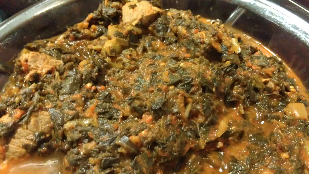 Efo - Nigerian spinach stew with beef!