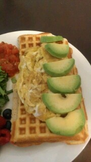 Eggs and Avocado over 1/2 waffle