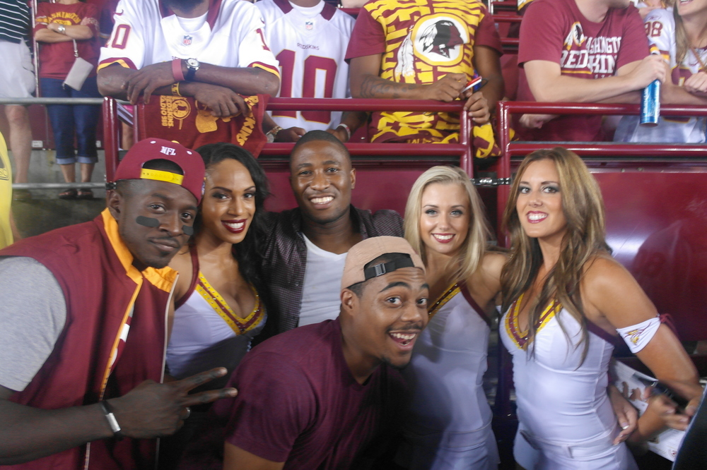 The Redskins dancers came up to say hey, so I snagged a shot of them with the guys, lol.