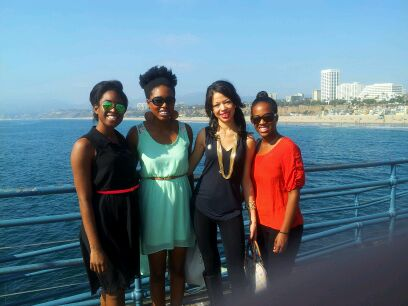 Most of the crew at the Santa Monica Pier.