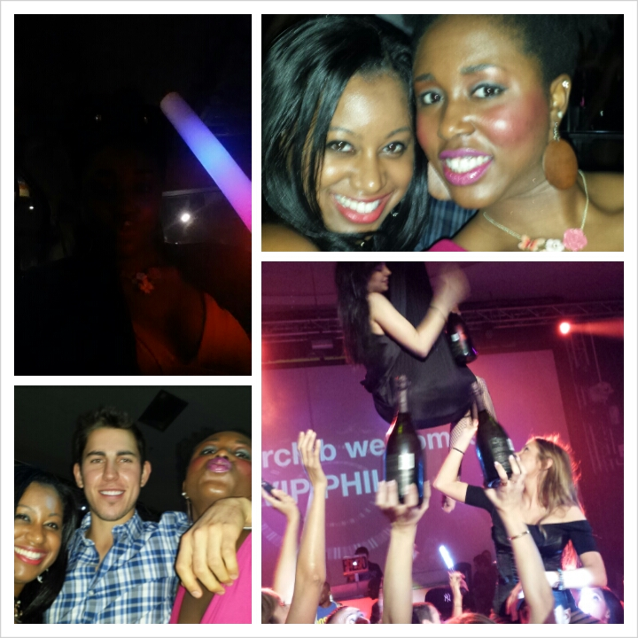 Photo summary of SupperClub. Me, the bday girl, my glow stick, and some random guy who kept bombing our photos.