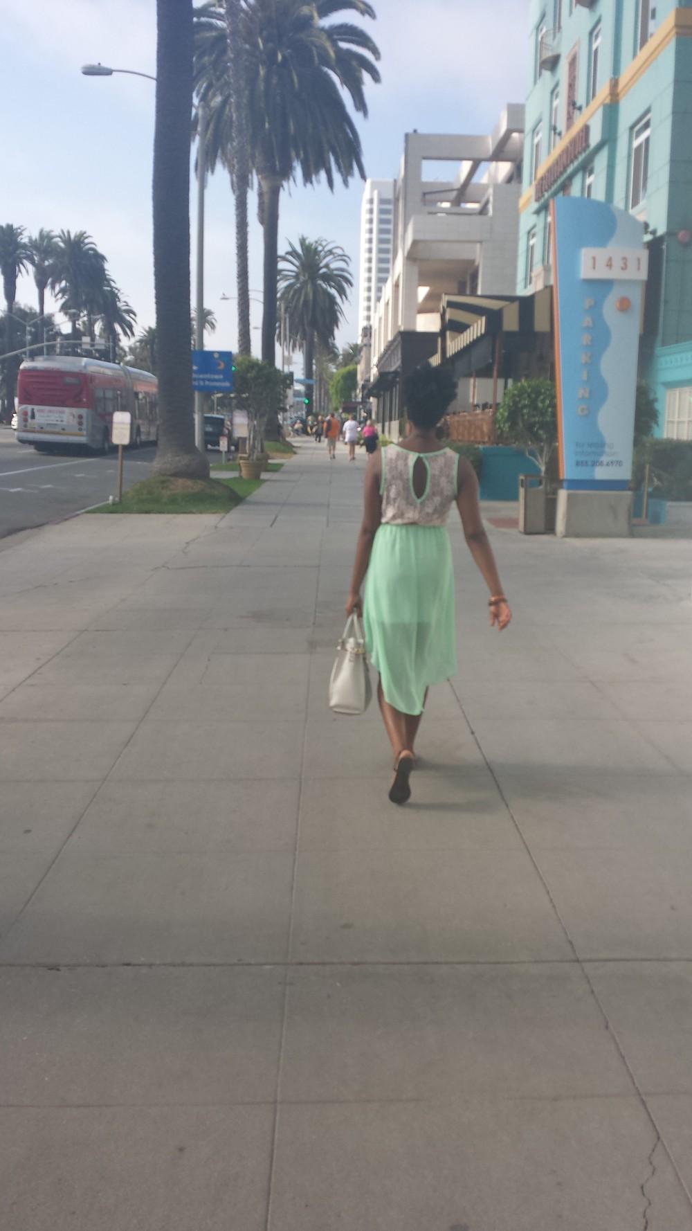 Walking along the street in Santa Monica