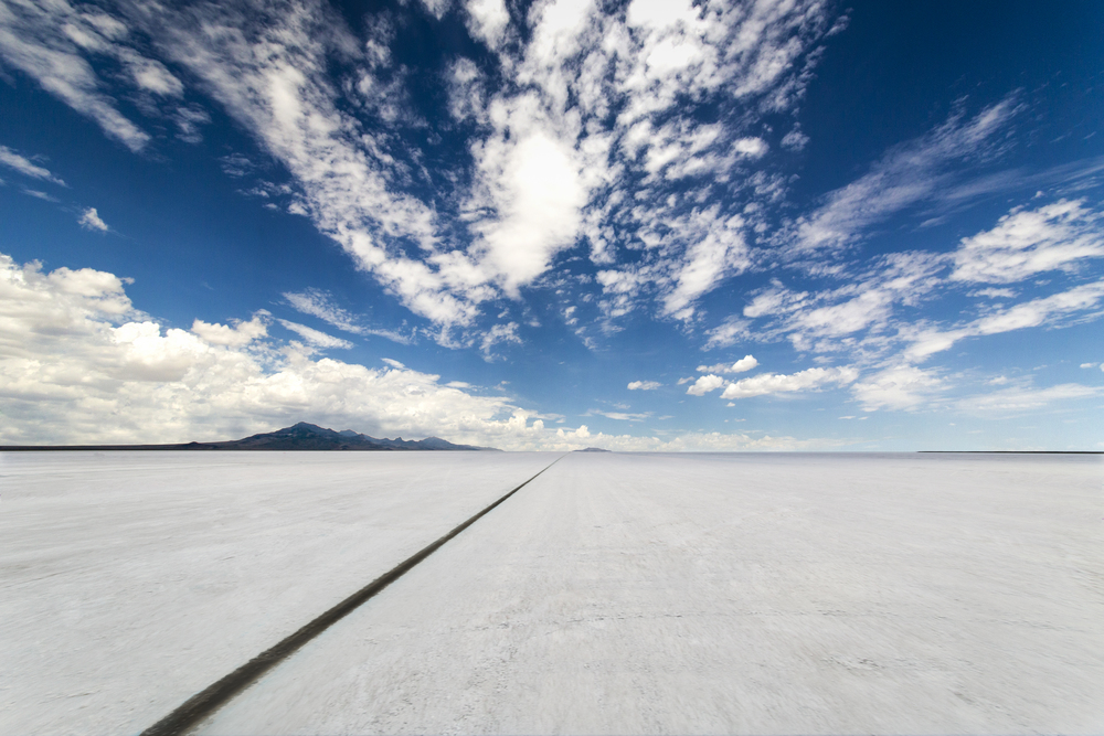 Bonneville Salt Flats- The Black Line- For One Time Use Only Poster  2014 - Image by Holly Martin METAL AND SPEED-1-2.jpg