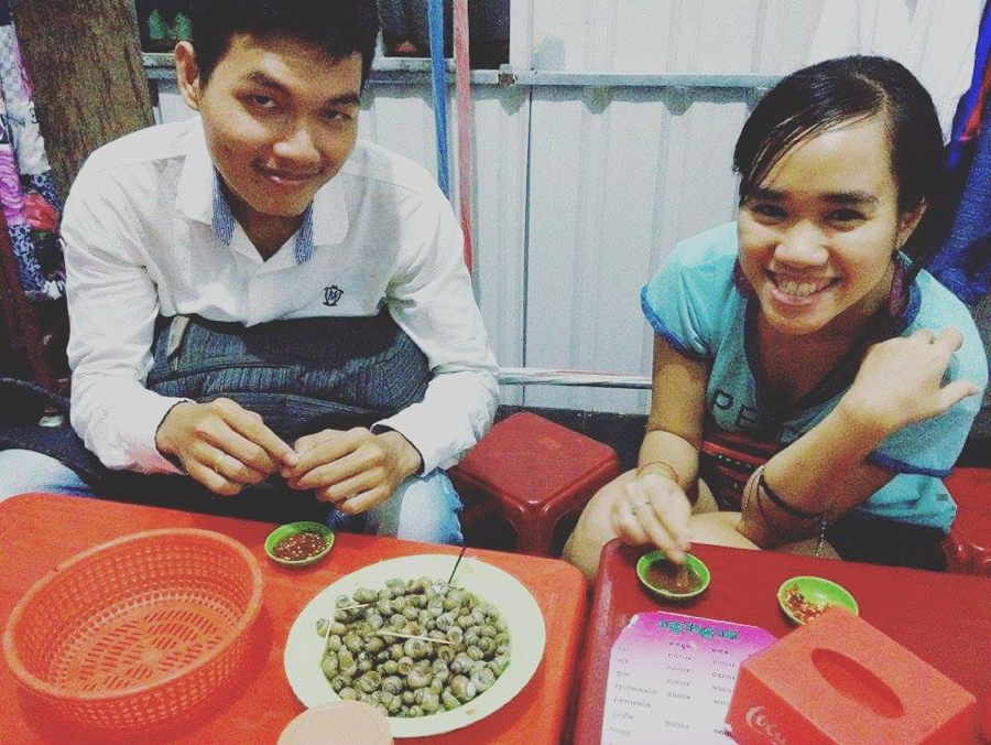 Food buddies: Porchhay and Thuy enjoying snails