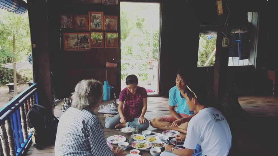 (From left to right) Alain from Khmer Community Development (KCD), Thuy, Vithiea and Porchhay having lunch during a visit