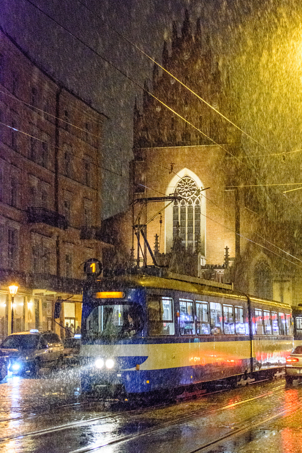 Tram making it's way through the snow