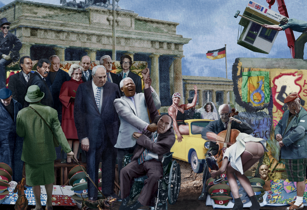 "Nelson Mandela at the Berlin Wall, holding the arm of legendary German boxing champion Max Schmeling. The two men are surrounded by the great German political figures and artists Franz Beckenbauer, Gunter Grass, Peter Zadek, Leni Riefenstahl, Walter Momper, Helmut Kohl, Richard von Weizsacker and Wim Wenders, with Russian cellist Mstislav Rostropovitch depicted on the far right. ""The Warriors"", from Twentieth Century Dreams, 1995-1999."