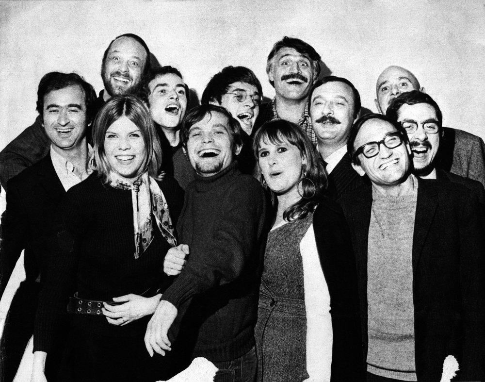Guy Peellaert (up left) and François Cavanna (up right) pose with fellow Hara-Kiri contributors in 1968.