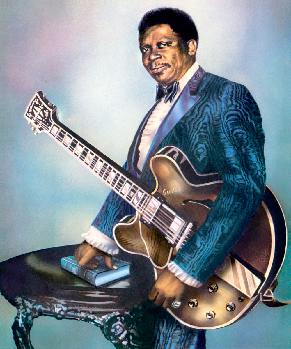 B.B King by Guy Peellaert, from the  Rock Dreams  series (1970-1973). Photomontage, ink and paint on paper.