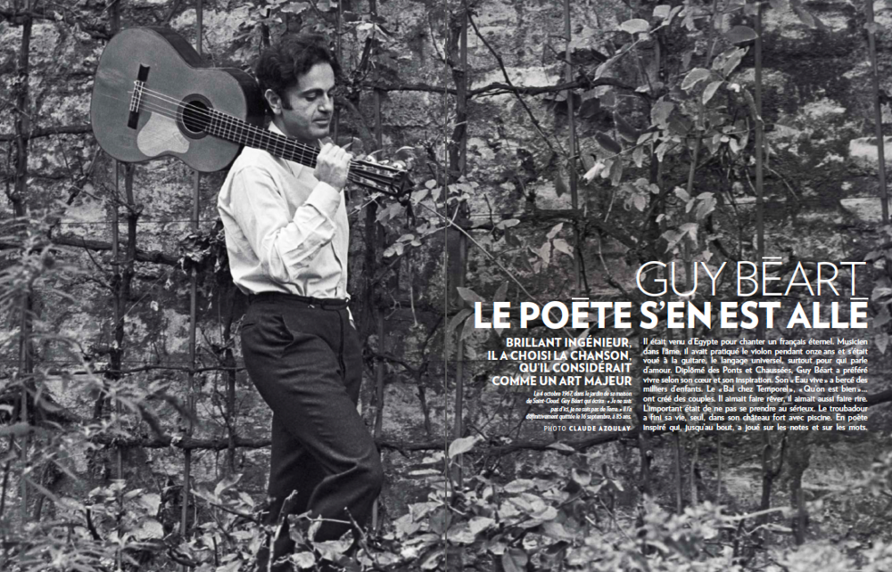 A tribute to Guy Béart in  Paris Match