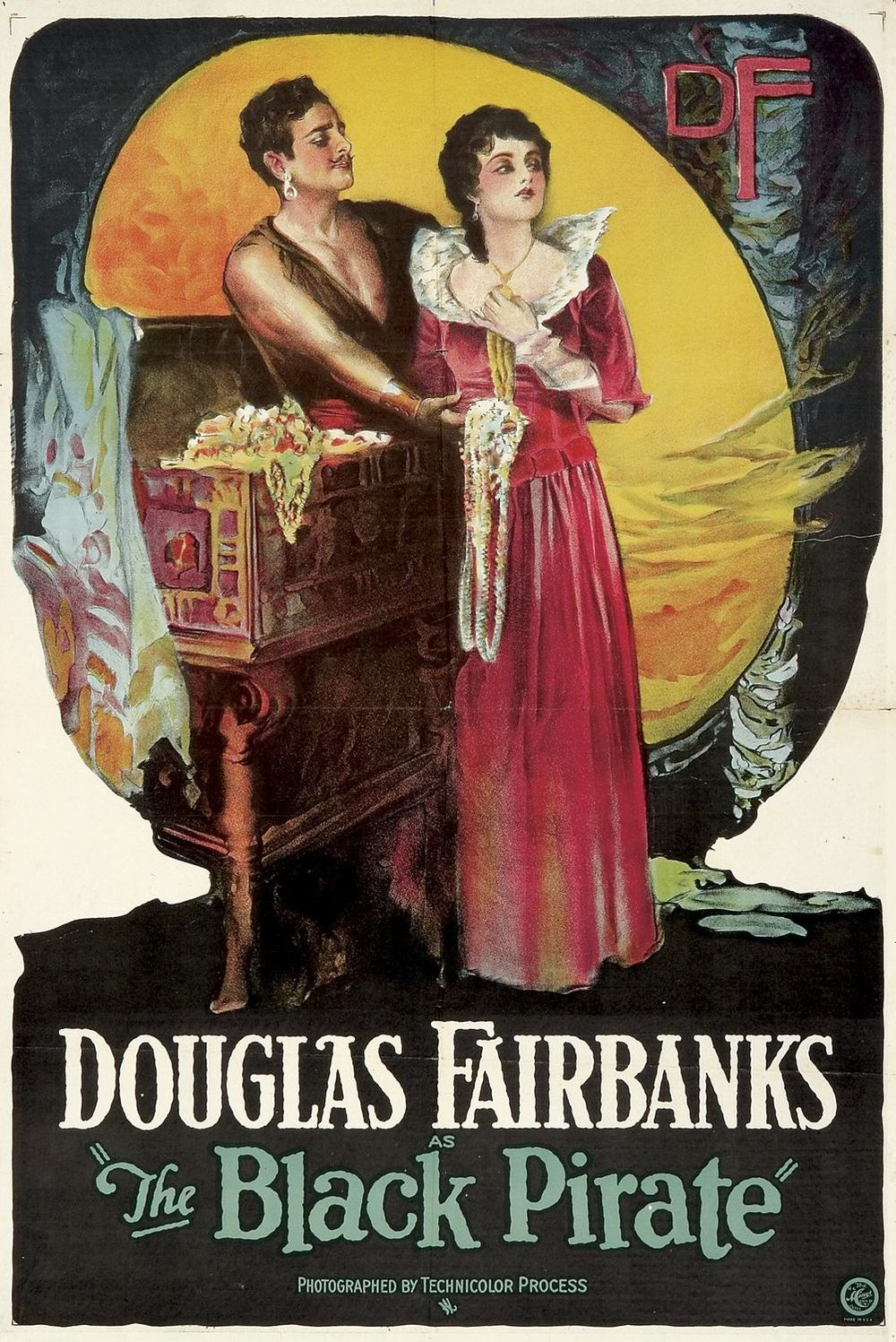 A poster for the 1926 film  The Black Pirate , starring Douglas Fairbanks