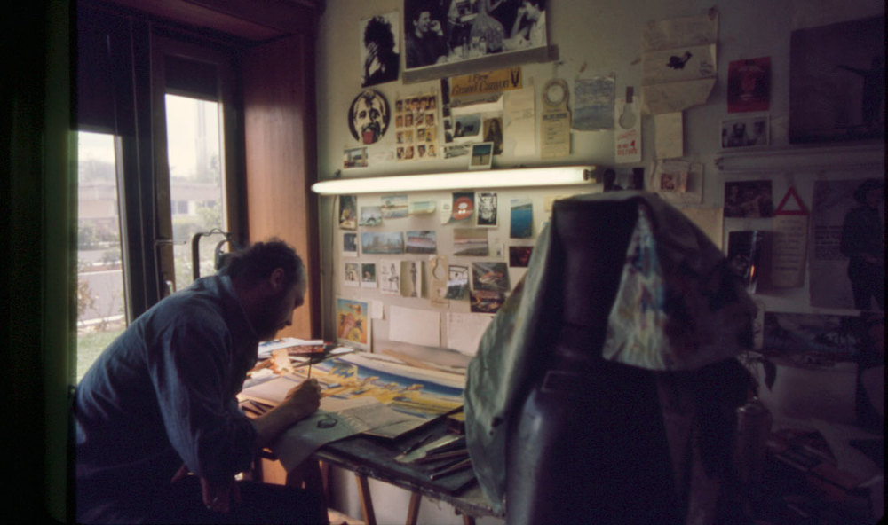 Guy Peellaert at work in his Montparnasse studio, photographed by Harry Shunk, May 1975.   The Roy Lichtenstein Foundation © J. Paul Getty Trust. The Getty Research Institute, Los Angeles.