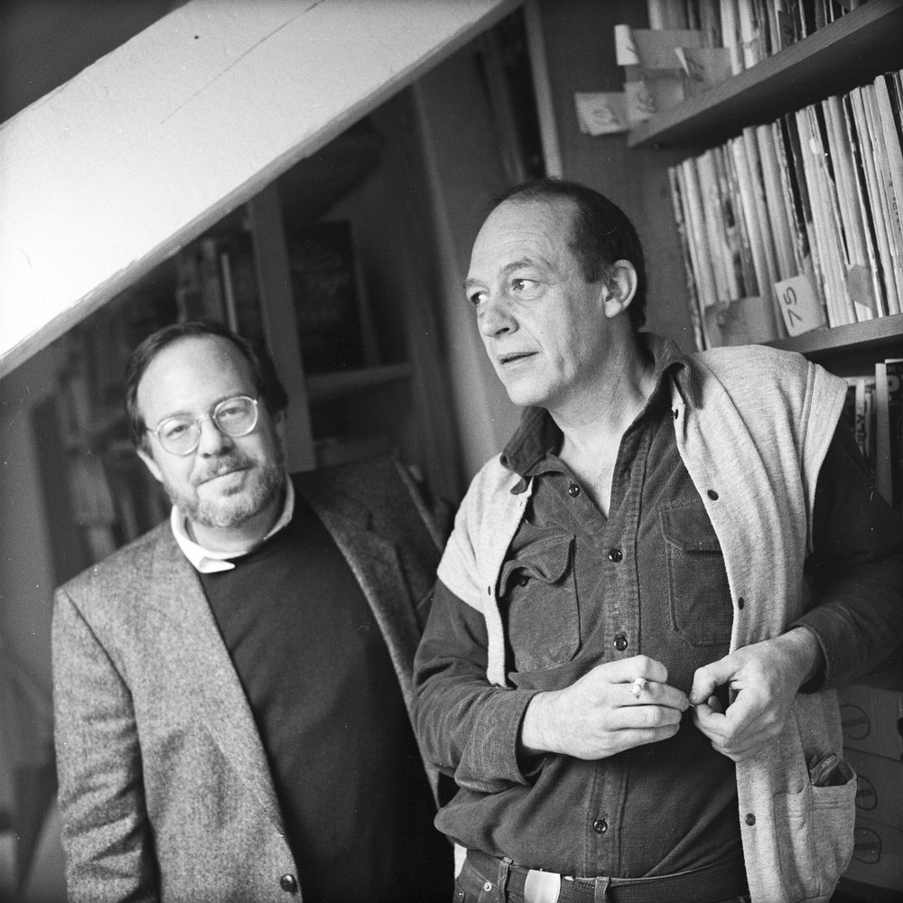 In 1984, Michael Herr and Guy Peellaert were photographed together in the artist's Paris studio for  Libération , two years before the release of their collaboration on  Las Vegas, The Big Room . Photographed by Olivier Descamps.