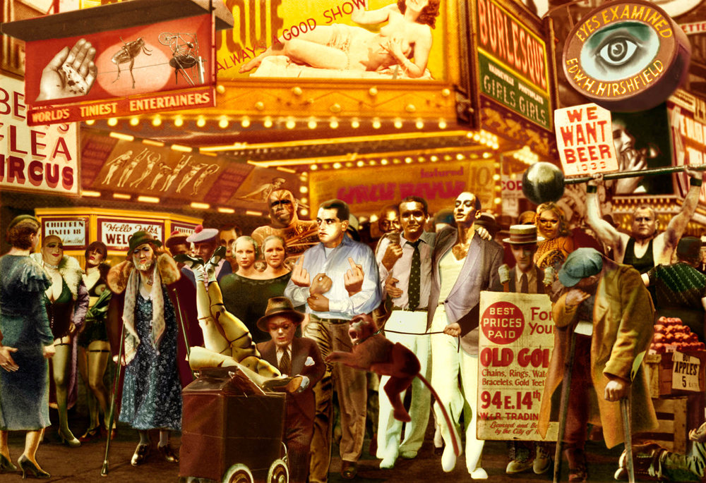 Guy Peellaert.  42nd Street  (Luis Bunuel, Jack Johnson, Frederico Garcia Lorca, Salvador Dali) from  Twentieth Century Dreams  (1995-1999)
