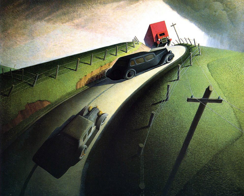 Grant Wood (1891-1942).  Death on the Ridge Road  (1935)