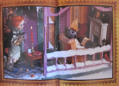 The Cat Who Wouldn't Come Inside, by Cynthia von Buhler. (The illustrations are photographs of a set the artist designed and created - using clay, hand sewn clothing, a homemade dollhouse, and various other materials)