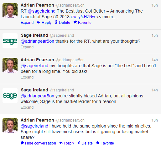 My short twitter exchange with Sage. Although my question was rhetorical, it would have been nice to get an answer.