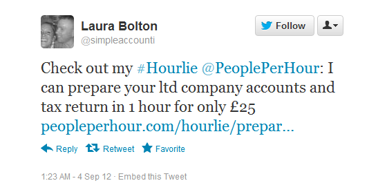 Laura Bolton promoting her new offer on Twitter