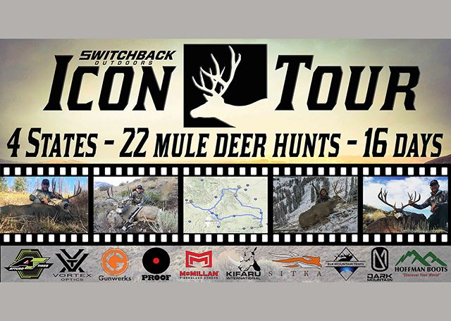 It's time to let the cat out of the bag!!! We are super excited about this mule deer project we have named the Icon Tour!  We will be hunting 4 states in 16 days and video documenting the entire hunt!  Be sure to swipe left so you can find out how to get your name in for a @gunwerks rifle, a pair of @hoffman.boots, @kifaru_intl pack and a @darkmountain_official domination combo!  Link in BIO!! #switchbackoutdoors #icontour #atturotires #gunwerks #hoffmanboots #sitkagear #darkmountain #proofbarrels #vortexoptics #mcmillanstocks #kifaru #elkmountaintents #iconichunter #beiconic