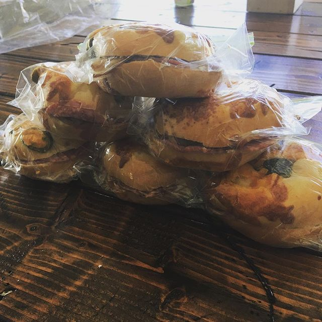 Jalapeño bagel, jalapeño cream cheese, 10 slices of salami, 2 pieces of cooked bacon. 650+ calories each for an awesome backpacking mid day meal. What is everyone else packing for their mid day meals??